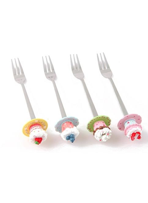 "Kanca Ev Tatlı Çatalı, ""Cupcake"", 4'Lü  Renkli"